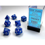 CHX25406 Blue Opaque Dice White Numbers 16mm Set of 7
