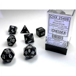 CHX25408 Black Opaque Dice White Numbers 16mm Set of 7