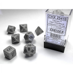 CHX25410 Dark Grey Opaque Dice Black Numbers 16mm Set of 7