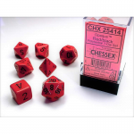 CHX25414 Red Opaque Dice Black Numbers 16mm Set of 7