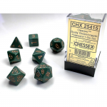 CHX25415 Dusty Green Opaque Dice Copper Numbers 16mm Set of 7