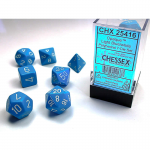 CHX25416 Light Blue Opaque Dice White Numbers 16mm Set of 7