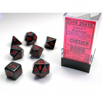 CHX25418 Black Opaque Dice Red Numbers 16mm Set of 7