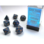 CHX25426 Dusty Blue Opaque Dice Copper Numbers 16mm Set of 7