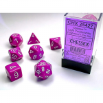 CHX25427 Light Purple Opaque Dice White Numbers 16mm Set of 7