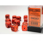 CHX25603 Orange Opaque D6 Dice Black Pips 16mm Pack of 12