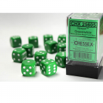 CHX25605 Green Opaque D6 Dice White Pips 16mm Pack of 12