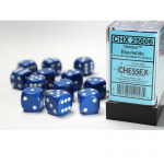CHX25606 Blue Opaque D6 Dice White Pips 16mm Pack of 12