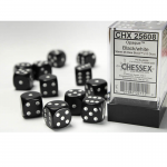 CHX25608 Black Opaque D6 Dice White Pips 16mm Pack of 12