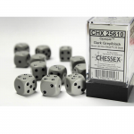 CHX25610 Gray Opaque D6 Dice with Black Pips 16mm (5/8in) Pack of 12