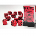 CHX25614 Red Opaque D6 Dice Black Pips 16mm Pack of 12