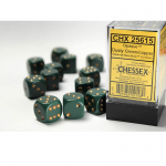 CHX25615 Dusty Green Opaque D6 Dice Copper Pips 16mm Pack of 12