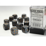 CHX25620 Dark Grey Opaque D6 Dice Copper Pips 16mm Pack of 12