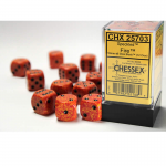 CHX25703 Fire Speckled D6 Dice with Black Pips 16mm (5/8in) Pack of 12