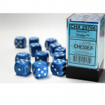 CHX25706 Water Speckled D6 Dice with White Pips 16mm (5/8in) Pack of 12