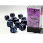 CHX25707 Cobalt Speckled D6 Dice with Blue Pips 16mm (5/8in) Pack of 12