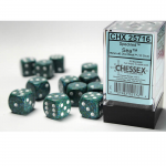 CHX25716 Sea Speckled D6 Dice with White Pips 16mm (5/8in) Pack of 12