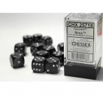 CHX25718 Ninja Speckled D6 Dice with Silver Pips 16mm (5/8in) Pack of 12