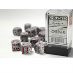 CHX25720 Granite Speckled D6 Dice Red Pips 16mm Pack of 12