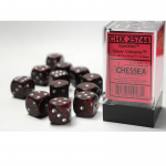CHX25744 Silver Volcano Speckled D6 Dice Silver Pips 16mm Pack of 12