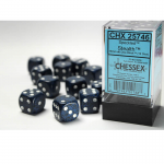 CHX25746 Stealth Speckled D6 Dice White Pips 16mm (5/8in) Pack of 12