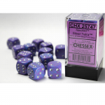 CHX25747 Silver Tetra Speckled D6 Dice Silver Pips 16mm Pack of 12