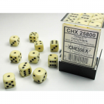 CHX25800 Ivory Opaque D6 Dice Black Pips 12mm Pack of 36