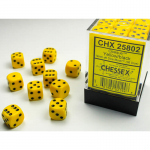 CHX25802 Yellow Opaque D6 Dice Black Pips 12mm Pack of 36