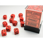 CHX25803 Orange Opaque D6 Dice Black Pips 12mm Pack of 36