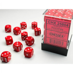 CHX25804 Red Opaque D6 Dice with White Pips 12mm (1/2in) Pack of 36