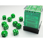 CHX25805 Green Opaque D6 Dice with White Pips 12mm (1/2in) Pack of 36