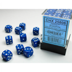 CHX25806 Blue Opaque D6 Dice with White Pips 12mm (1/2in) Pack of 36