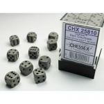 CHX25810 Grey Opaque D6 Dice with Black Pips 12mm (1/2in) Pack of 36