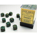 CHX25815 Dusty Green Opaque D6 Dice Copper Pips 12mm Pack of 36