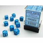 CHX25816 Light Blue Opaque Dice White Pips D6 12mm (1/2in) Pack of 36