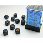 CHX25826 Dusty Blue Opaque D6 Dice Copper Pips 12mm (1/2in) Pack of 36