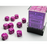 CHX25827 Light Purple Opaque D6 Dice White Pips 12mm (1/2in) Pack of 36