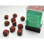 CHX25904 Strawberry Speckled D6 Dice Green Pips 12mm Pack of 36