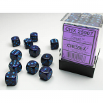 CHX25907 Cobalt Speckled D6 Dice with Blue Pips 12mm (1/2in) Pack of 36