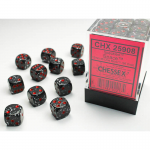CHX25908 Space Speckled D6 Dice with Red Pips 12mm (1/2in) Pack of 36