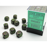 CHX25910 Earth Speckled D6 Dice with Green Pips 12mm (1/2in) Pack of 36