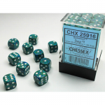 CHX25916 Sea Speckled D6 Dice with White Pips 12mm (1/2in) Pack of 36
