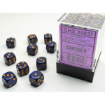 CHX25937 Golden Cobalt Speckled D6 Dice Gold Pips 12mm Pack of 36