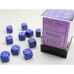 CHX25947 Silver Tetra Speckled D6 Dice Silver Pips 12mm Pack of 36