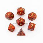 CHX27414 Scarlet Scarab Dice with Gold Numbers 16mm (5/8in) Set of 7