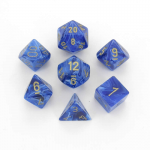 CHX27436 Blue Vortex Dice with Gold Numbers 16mm (5/8in) Set of 7