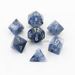 CHX27488 Black Phantom Dice with Silver Numbers 16mm (5/8in) Set of 7