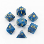 CHX27489 Teal Phantom Dice with Gold Numbers 16mm (5/8in) Set of 7