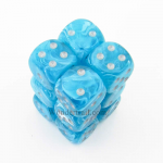CHX27665 Aqua Cirrus Dice with Silver Pips D6 16mm (5/8in) Pack of 12