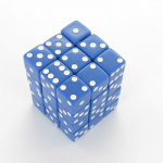 KOP01829 Blue Opaque Squared Corner Dice White Pips D6 12mm Pack of 36